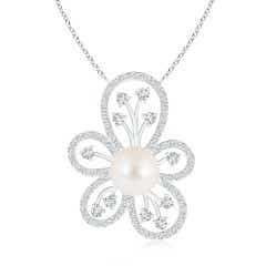 Freshwater Cultured Pearl Floral Pendant with Diamonds