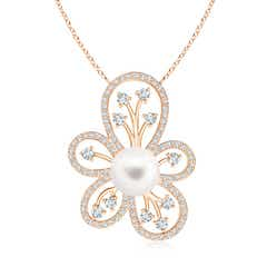 Solitaire Freshwater Cultured Pearl Floral Pendant with Diamond Accents