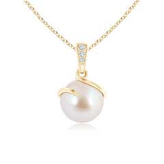 Akoya Cultured Pearl Spiral Pendant with Diamonds