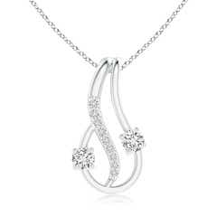 Two Stone Diamond Loop Pendant with Accents