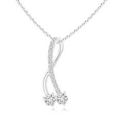 Twisted Two Stone Diamond Ribbon Pendant