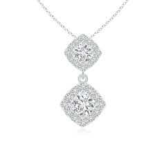 Double Diamond Drop Halo Pendant