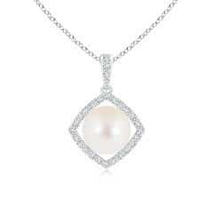 Floating Freshwater Cultured Pearl Pendant with Diamond Halo