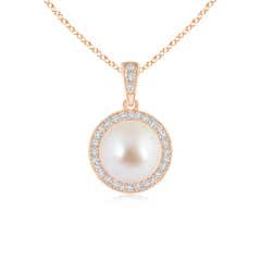 Akoya Cultured Pearl and Diamond Halo Pendant