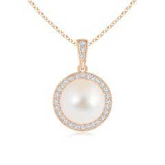 Freshwater Cultured Pearl and Diamond Halo Pendant