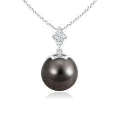 Tahitian Cultured Pearl Drop Pendant with Diamond Clusters