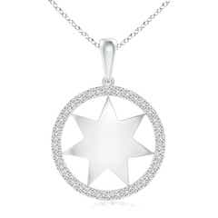 Polished Star Diamond Circle Dangle Pendant