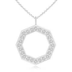 Pave-Set Round Diamond Open Octagon Pendant