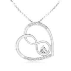 Solitaire Diamond Tilted Infinity Heart Pendant