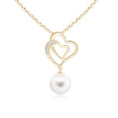 Intertwined Heart Freshwater Cultured Pearl Pendant Necklace with Diamonds