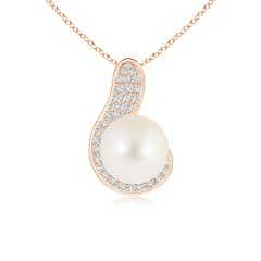 Angara Freshwater Cultured Pearl J-Shaped Pendant with Diamond Gi0KTSkH