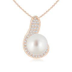 Swirl Round Solitaire South Sea Cultured Pearl and Diamond Pendant
