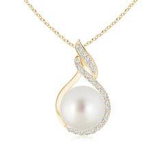 Angara South Sea Cultured Pearl Fleur De Lis Pendant with Diamonds S7qADGY