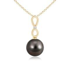 Infinity Loop Tahitian Cultured Pearl Pendant with Tiny Diamond