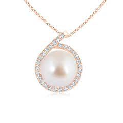 Angara Akoya Cultured Pearl Pendant with Diamond-Encrusted Loop 1OCt8B