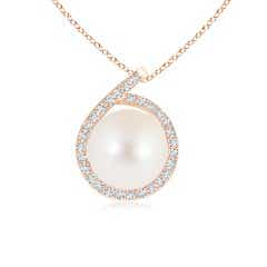 Freshwater Cultured Pearl Loop Pendant with Diamond Halo