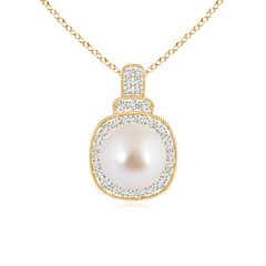 Angara Akoya Cultured Pearl and Diamond Double Halo Pendant DGGkC