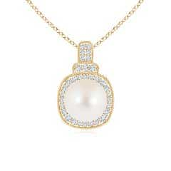 Freshwater Cultured Pearl Rope-Edged Pendant with Diamonds