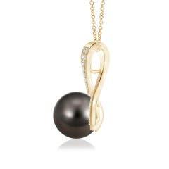 Toggle Tahitian Cultured Pearl Swirl Ribbon Pendant with Diamonds
