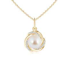 Akoya Cultured Pearl Overlapping Halo Pendant