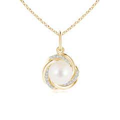 Solitaire Freshwater Cultured Pearl Pendant with Braided Diamond Frame