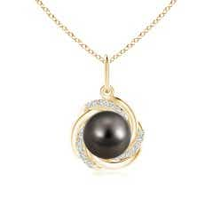 Tahitian Cultured Pearl Overlapping Halo Pendant