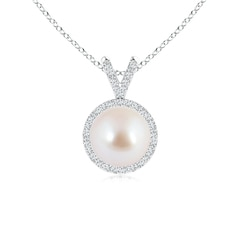 V-Bail Classic Akoya Cultured Pearl Halo Pendant Necklace