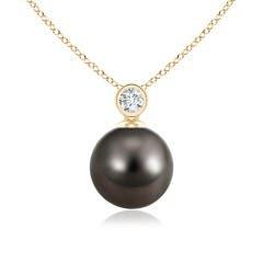 Tahitian Cultured Pearl and Diamond Bezel Pendant