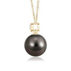 Toggle Tahitian Cultured Pearl Pendant with Bezel-Set Diamond