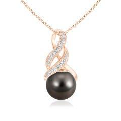 Tahitian Cultured Pearl and Diamond Swirl Bale Pendant