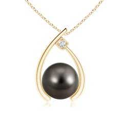 Tahitian Cultured Pearl Wishbone Pendant with Diamond