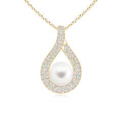 Open Loop FreshWater Cultured Pearl Pendant with Diamond