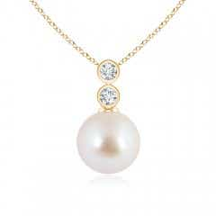 Akoya Cultured Pearl Pendant with Bezel Diamonds