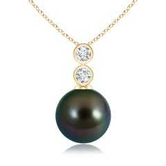 Tahitian Cultured Pearl Pendant with Bezel Diamonds
