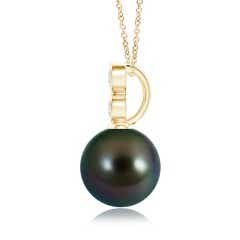 Toggle Tahitian Cultured Pearl Pendant with Bezel Diamonds