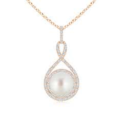 South Sea Cultured Pearl Infinity Pendant with Diamond Halo