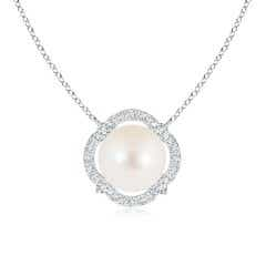 Freshwater Cultured Pearl Clover Pendant with Diamond Halo