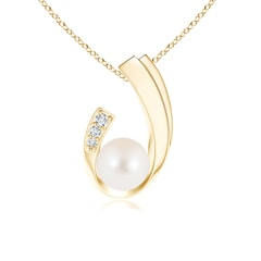J Shaped FreshWater Cultured Pearl Pendant with Diamond