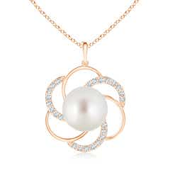 South Sea Cultured Pearl Flower Pendant with Diamonds