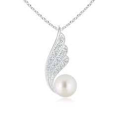 South Sea Cultured Pearl Angel Wing Pendant with Diamonds