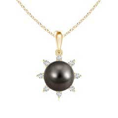 Tahitian Cultured Pearl and Diamond Flower Pendant