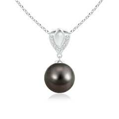 Tahitian Cultured Pearl Drop Pendant with Pave Diamond Bale