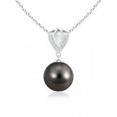 Tahitian Cultured Pearl Drop Pendant with Ornate Bale