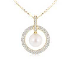 Freshwater Cultured Pearl and Diamond Open Circle Pendant