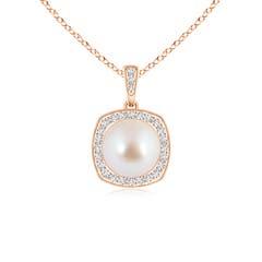 Akoya Cultured Pearl Halo Pendant with Milgrain