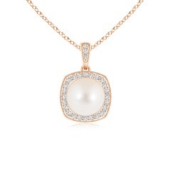 Freshwater Cultured Pearl Halo Pendant with Milgrain