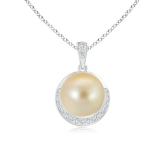 Golden South Sea Cultured Pearl and Diamond Half Moon Pendant