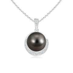 Tahitian Cultured Pearl and Diamond Half Moon Pendant