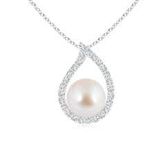 Paisley Framed Akoya Cultured Pearl Pendant with Diamonds