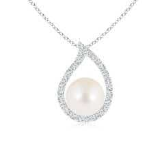Freshwater Cultured Pearl Paisley Pendant with Diamonds